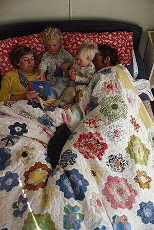 A family enjoys a restful Sunday morning together